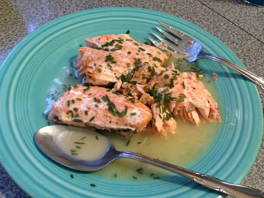 ... roasted salmon with white wine sauce recipe yummly baked salmon