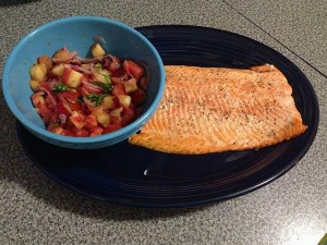 Salmon with Peach and Tomato Salsa