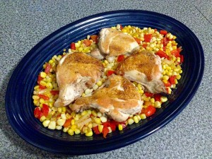 Pressed Chicken with Corn, Scallion and Pepper Saute