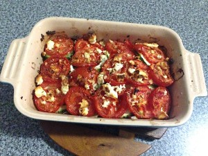 Zucchini, Tomato and Feta Bake