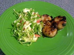 Scallops w Brussels sprouts and apple slaw