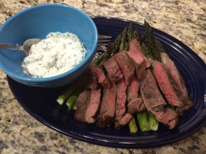 Steak Asparagus w Feta Sauce